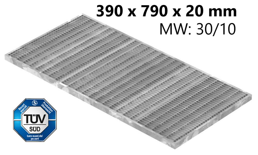 Lichtschachtrost Baunormrost | Maße:  390x790x20 mm 30/10 mm | aus S235JR (St37-2), im Vollbad feuerverzinkt
