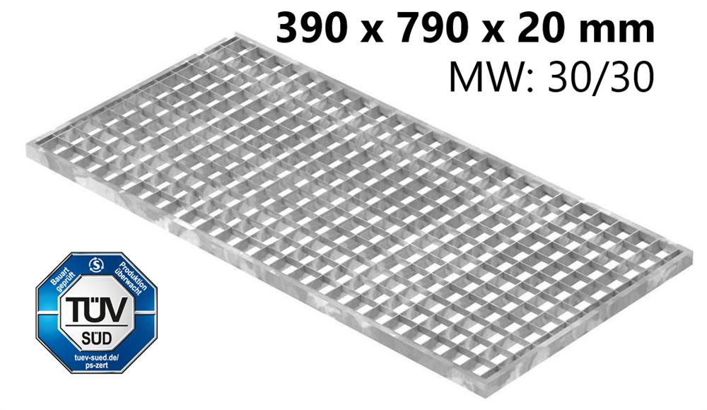 Lichtschachtrost Baunormrost | Maße:  390x790x20 mm 30/30 mm | aus S235JR (St37-2), im Vollbad feuerverzinkt