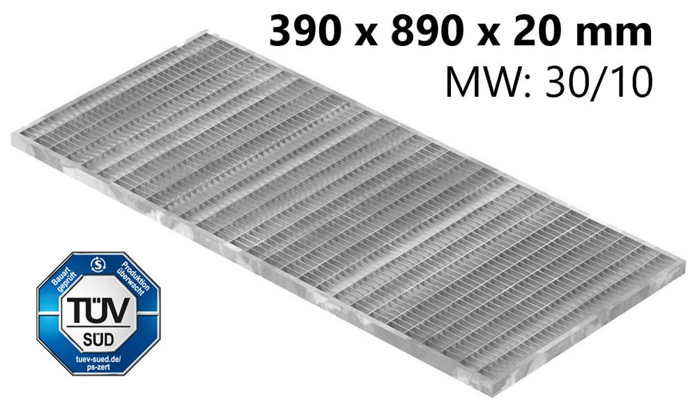 Lichtschachtrost Baunormrost | Maße:  390x890x20 mm 30/10 mm | aus S235JR (St37-2), im Vollbad feuerverzinkt