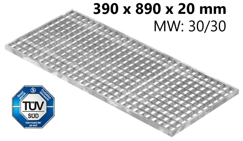 Lichtschachtrost Baunormrost | Maße:  390x890x20 mm 30/30 mm | aus S235JR (St37-2), im Vollbad feuerverzinkt
