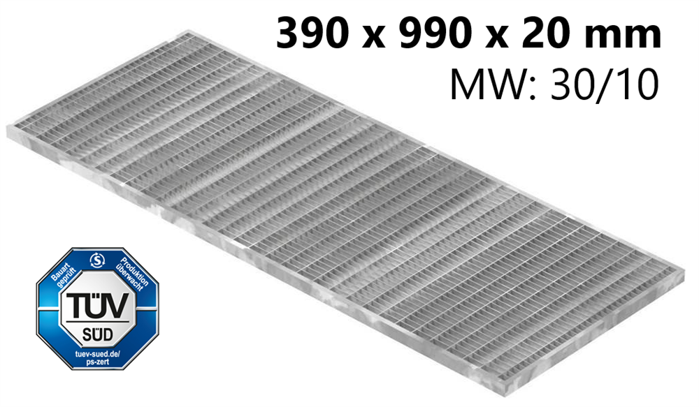 Lichtschachtrost Baunormrost | Maße:  390x990x20 mm 30/10 mm | aus S235JR (St37-2), im Vollbad feuerverzinkt