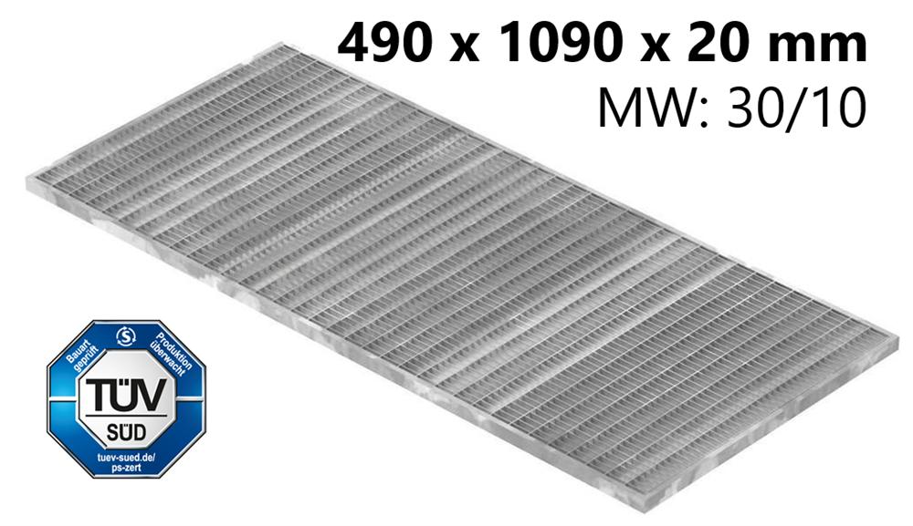 Lichtschachtrost Baunormrost | Maße:  490x1090x20 mm 30/10 mm | aus S235JR (St37-2), im Vollbad feuerverzinkt