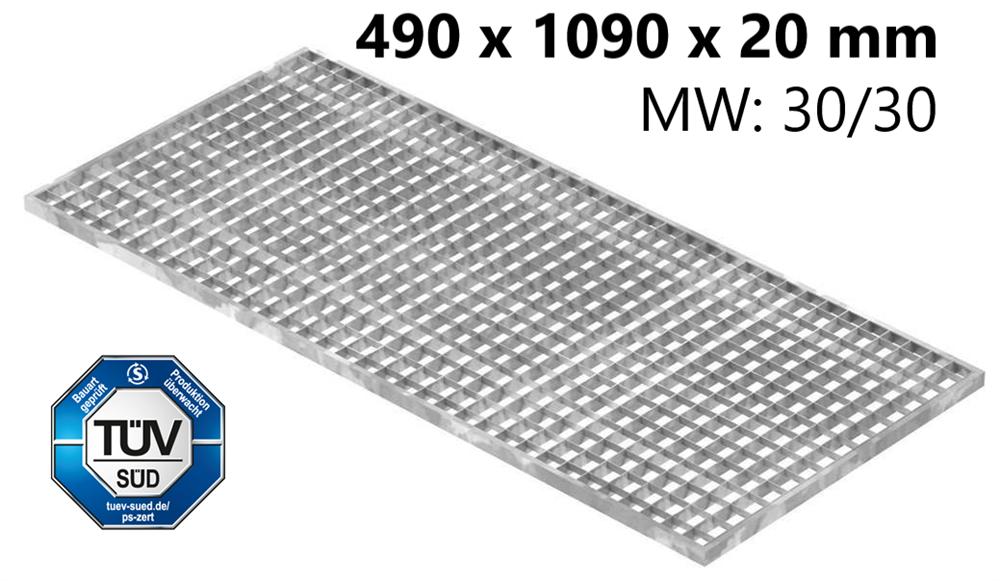 Lichtschachtrost Baunormrost | Maße:  490x1090x20 mm 30/30 mm | aus S235JR (St37-2), im Vollbad feuerverzinkt