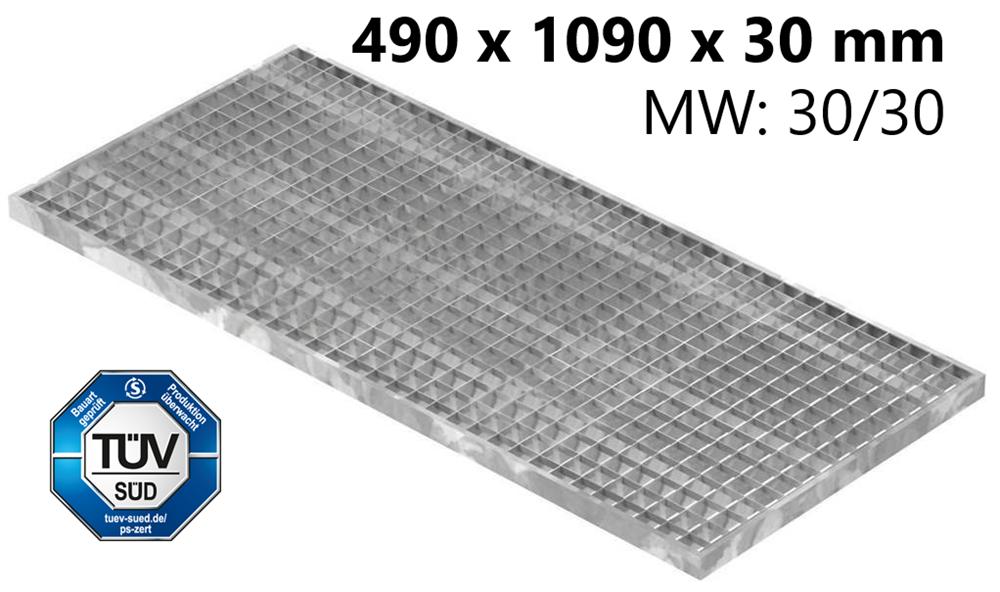 Lichtschachtrost Baunormrost | Maße:  490x1090x30 mm 30/30 mm | aus S235JR (St37-2), im Vollbad feuerverzinkt