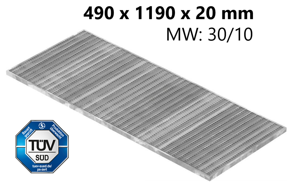 Lichtschachtrost Baunormrost | Maße:  490x1190x20 mm 30/10 mm | aus S235JR (St37-2), im Vollbad feuerverzinkt