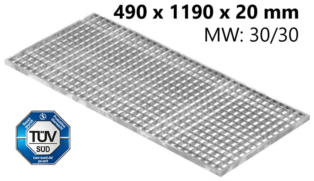 Lichtschachtrost Baunormrost | Maße:  490x1190x20 mm 30/30 mm | aus S235JR (St37-2), im Vollbad feuerverzinkt
