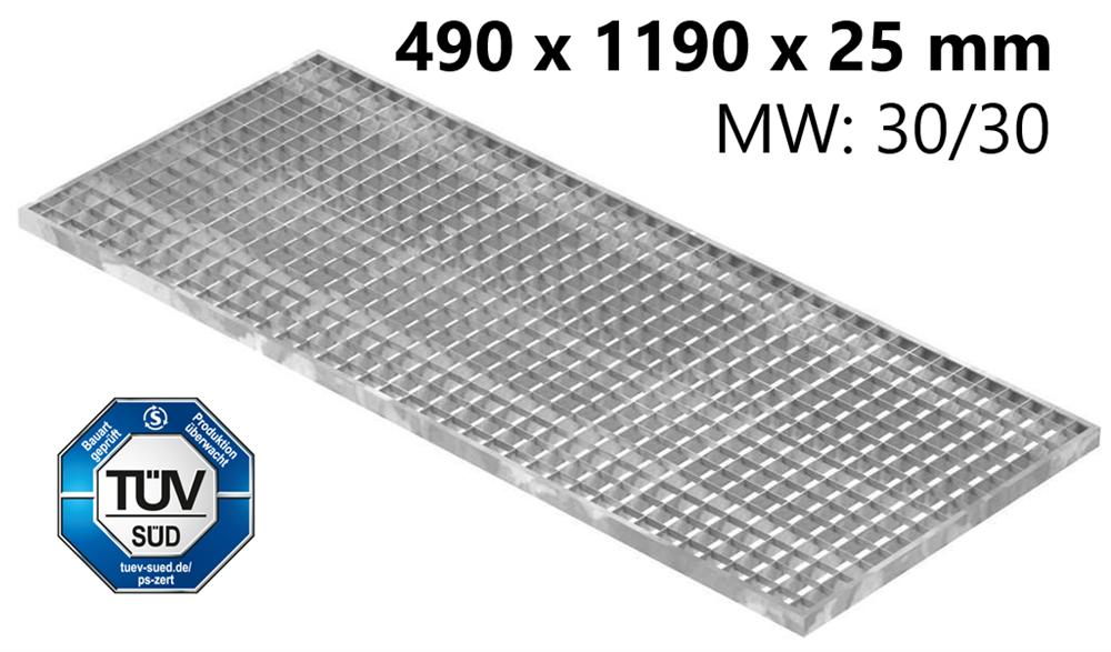Lichtschachtrost Baunormrost | Maße:  490x1190x25 mm 30/30 mm | aus S235JR (St37-2), im Vollbad feuerverzinkt