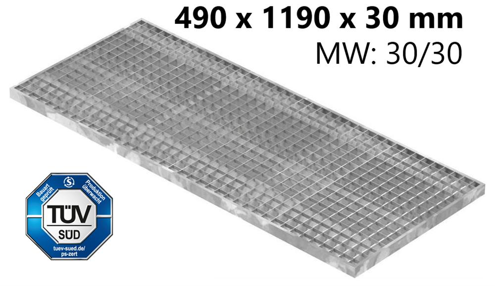Lichtschachtrost Baunormrost | Maße:  490x1190x30 mm 30/30 mm | aus S235JR (St37-2), im Vollbad feuerverzinkt
