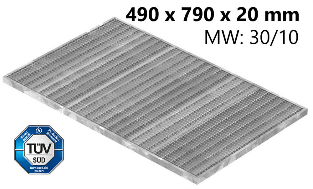 Lichtschachtrost Baunormrost | Maße:  490x790x20 mm 30/10 mm | aus S235JR (St37-2), im Vollbad feuerverzinkt
