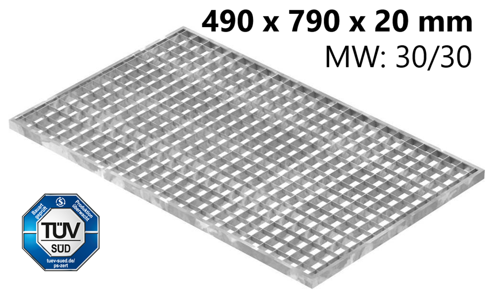 Lichtschachtrost Baunormrost | Maße:  490x790x20 mm 30/30 mm | aus S235JR (St37-2), im Vollbad feuerverzinkt