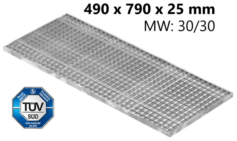 Lichtschachtrost Baunormrost | Maße:  490x790x25 mm 30/30 mm | aus S235JR (St37-2), im Vollbad feuerverzinkt