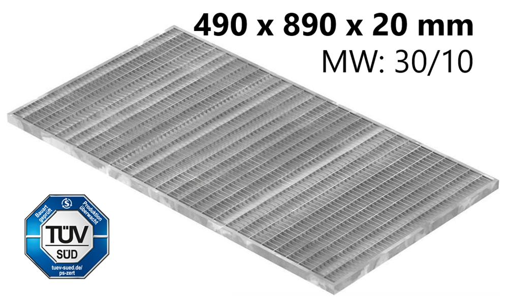 Lichtschachtrost Baunormrost | Maße:  490x890x20 mm 30/10 mm | aus S235JR (St37-2), im Vollbad feuerverzinkt