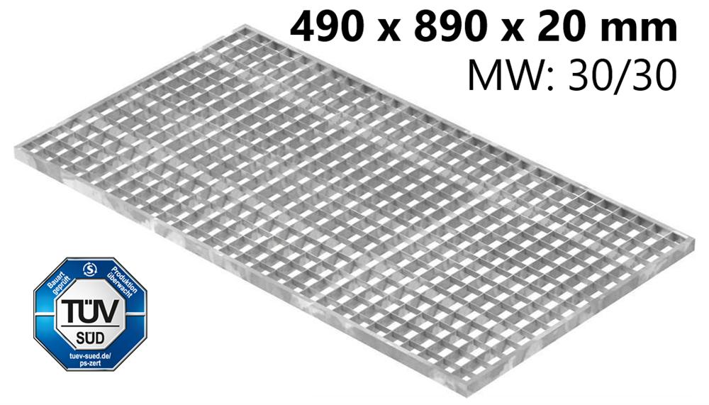 Lichtschachtrost Baunormrost | Maße:  490x890x20 mm 30/30 mm | aus S235JR (St37-2), im Vollbad feuerverzinkt