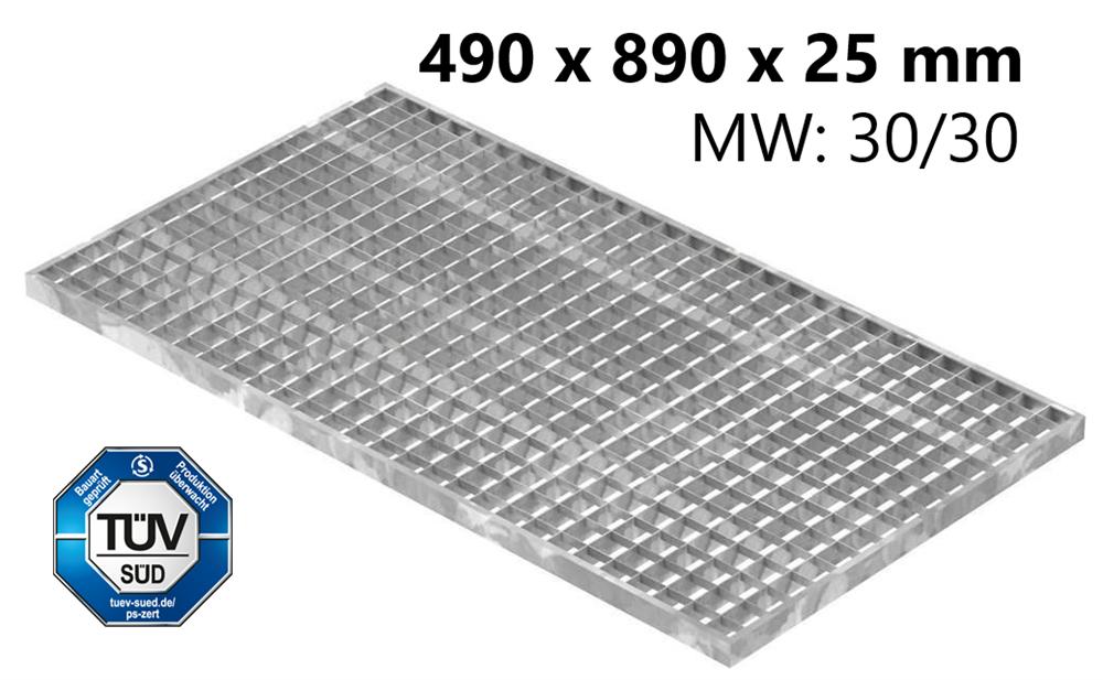Lichtschachtrost Baunormrost | Maße:  490x890x25 mm 30/30 mm | aus S235JR (St37-2), im Vollbad feuerverzinkt