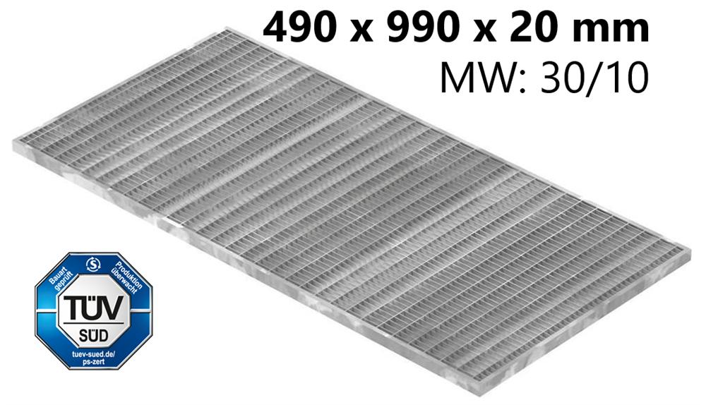 Lichtschachtrost Baunormrost | Maße:  490x990x20 mm 30/10 mm | aus S235JR (St37-2), im Vollbad feuerverzinkt