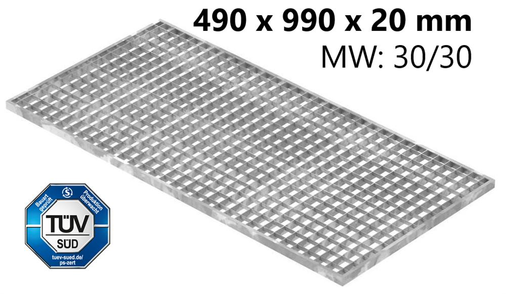 Lichtschachtrost Baunormrost | Maße:  490x990x20 mm 30/30 mm | aus S235JR (St37-2), im Vollbad feuerverzinkt
