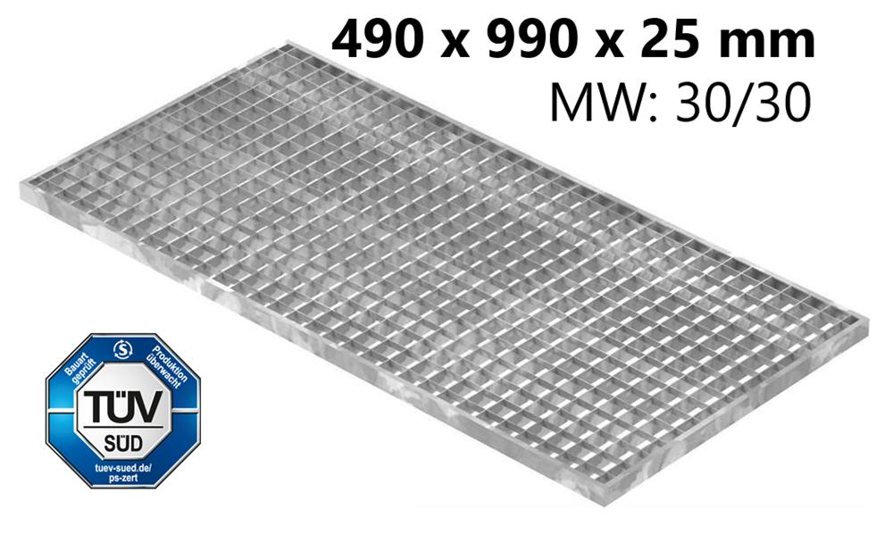 Lichtschachtrost Baunormrost | Maße:  490x990x25 mm 30/30 mm | aus S235JR (St37-2), im Vollbad feuerverzinkt