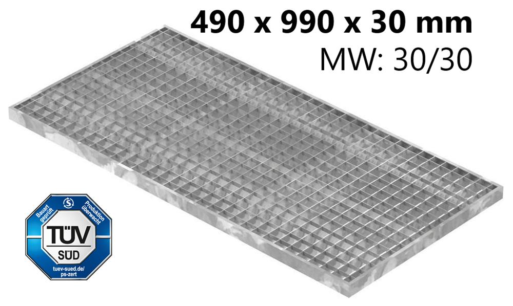 Lichtschachtrost Baunormrost | Maße:  490x990x30 mm 30/30 mm | aus S235JR (St37-2), im Vollbad feuerverzinkt