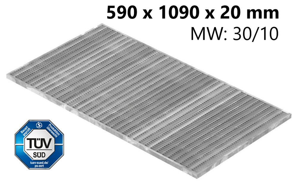 Lichtschachtrost Baunormrost | Maße:  590x1090x20 mm 30/10 mm | aus S235JR (St37-2), im Vollbad feuerverzinkt
