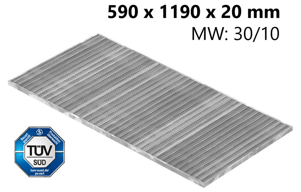 Lichtschachtrost Baunormrost | Maße:  590x1190x20 mm 30/10 mm | aus S235JR (St37-2), im Vollbad feuerverzinkt