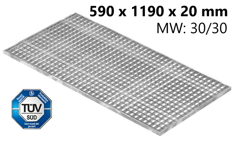Lichtschachtrost Baunormrost | Maße:  590x1190x20 mm 30/30 mm | aus S235JR (St37-2), im Vollbad feuerverzinkt
