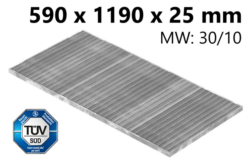 Lichtschachtrost Baunormrost | Maße:  590x1190x25 mm 30/10 mm | aus S235JR (St37-2), im Vollbad feuerverzinkt