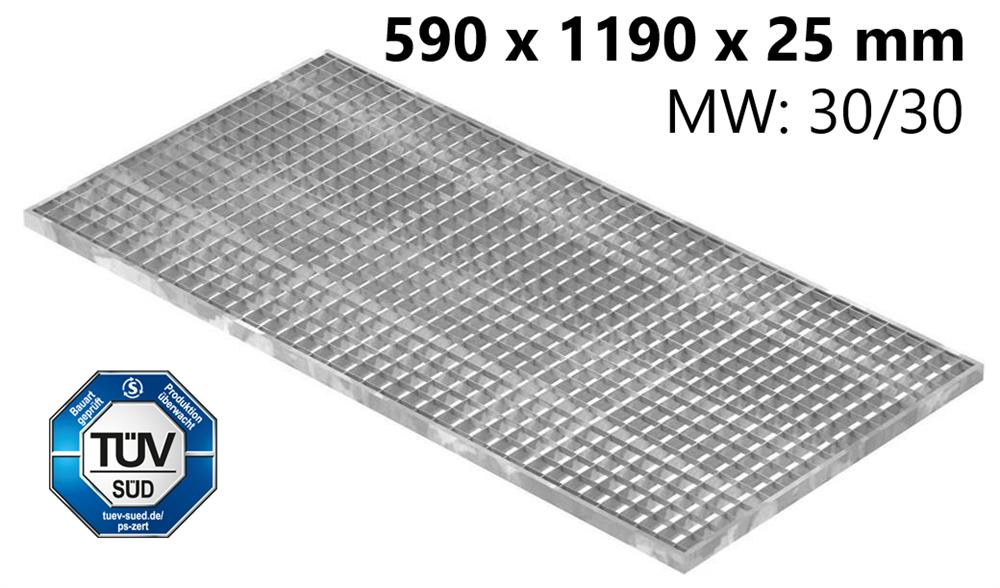 Lichtschachtrost Baunormrost | Maße:  590x1190x25 mm 30/30 mm | aus S235JR (St37-2), im Vollbad feuerverzinkt