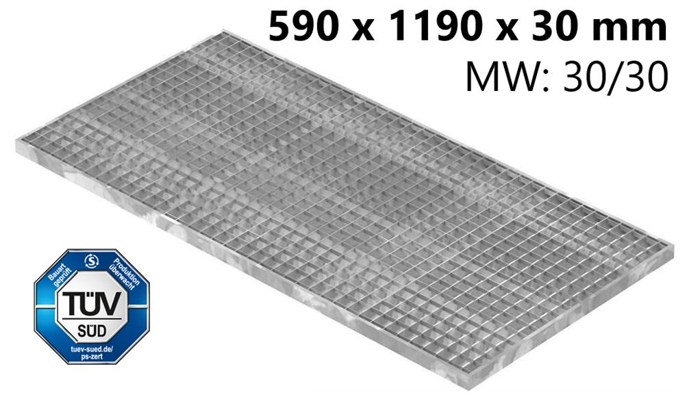 Lichtschachtrost Baunormrost | Maße:  590x1190x30 mm 30/30 mm | aus S235JR (St37-2), im Vollbad feuerverzinkt