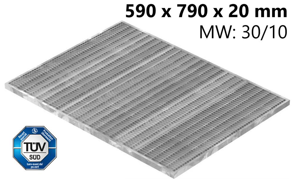 Lichtschachtrost Baunormrost | Maße:  590x790x20 mm 30/10 mm | aus S235JR (St37-2), im Vollbad feuerverzinkt
