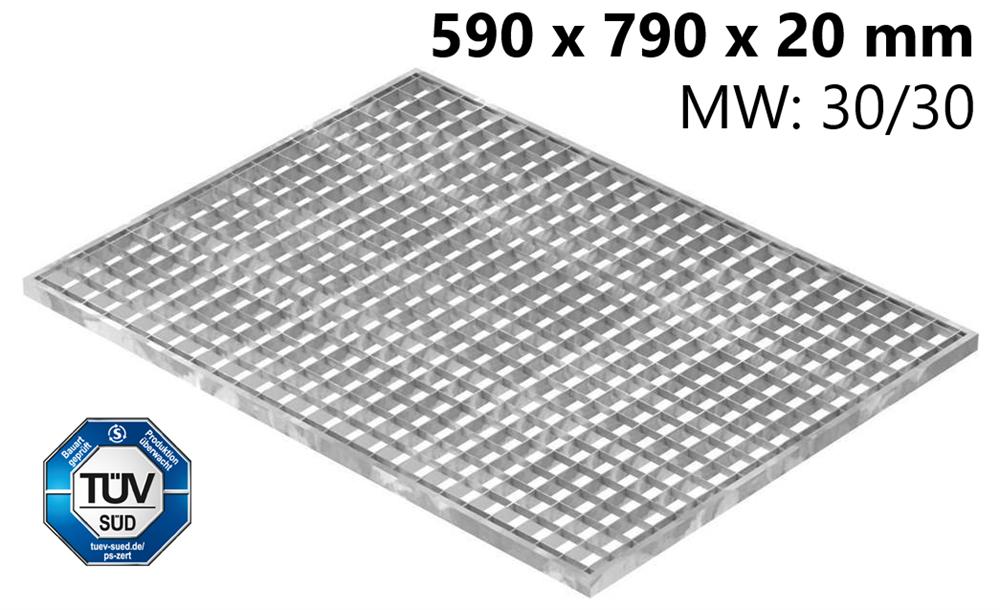 Lichtschachtrost Baunormrost | Maße:  590x790x20 mm 30/30 mm | aus S235JR (St37-2), im Vollbad feuerverzinkt