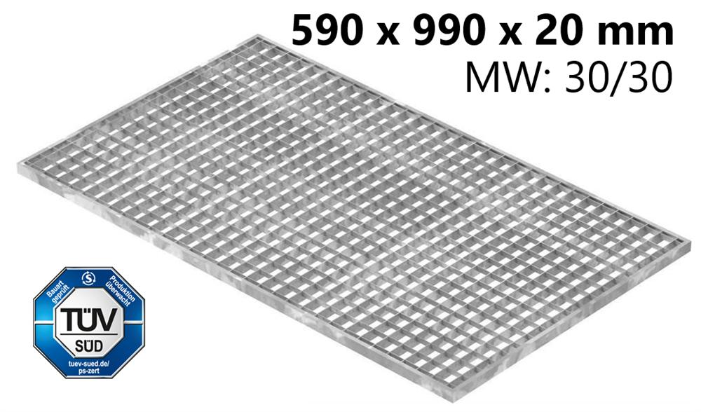 Lichtschachtrost Baunormrost | Maße:  590x990x20 mm 30/30 mm | aus S235JR (St37-2), im Vollbad feuerverzinkt