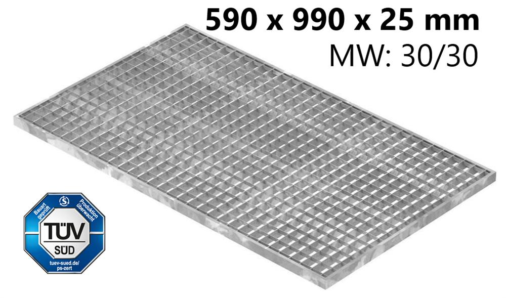 Lichtschachtrost Baunormrost | Maße:  590x990x25 mm 30/30 mm | aus S235JR (St37-2), im Vollbad feuerverzinkt