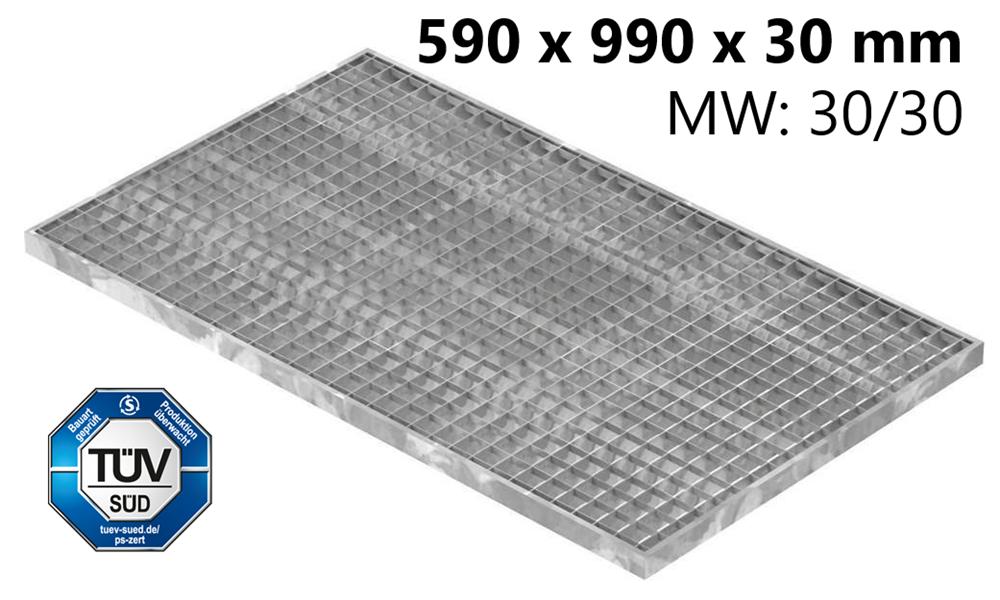 Lichtschachtrost Baunormrost | Maße:  590x990x30 mm 30/30 mm | aus S235JR (St37-2), im Vollbad feuerverzinkt