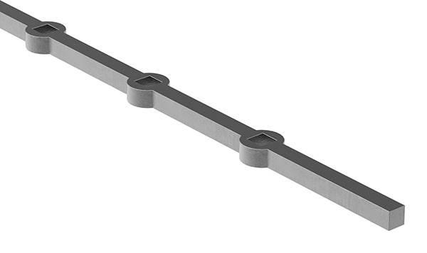 Lochleiste | für Quadratrohr | Material: 14x14 mm | Länge: 2000 mm | Stahl S235JR, roh
