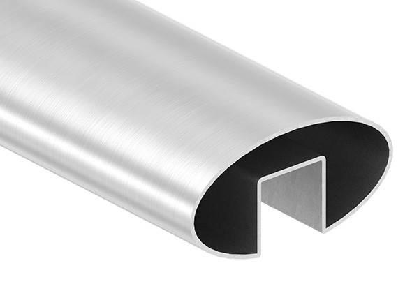 Oval-Nutrohr | Maße: 80x40x1,5 mm | Nut: 24x24 mm | Länge: 3000 mm | V2A