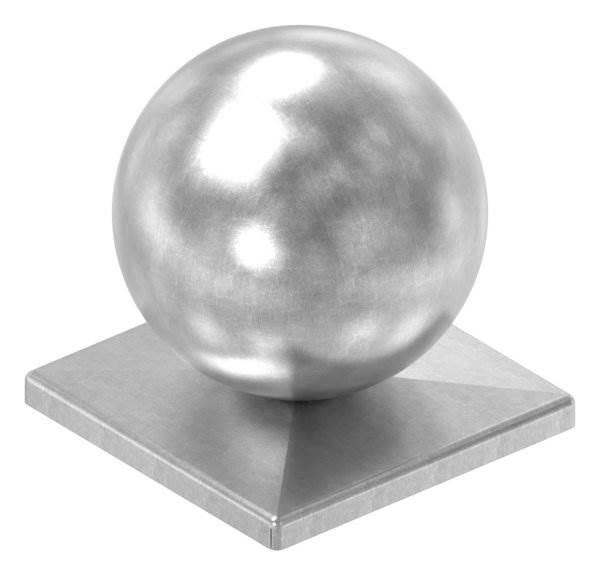 Pfeilerbedecker für Quadratrohr   100x100 mm   mit Kugel Ø 100 mm   Stahl (Roh) S235JR