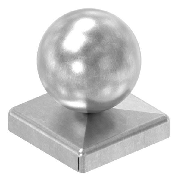 Pfeilerbedecker für Quadratrohr   40x40 mm   mit Kugel Ø 40 mm   Stahl (Roh) S235JR
