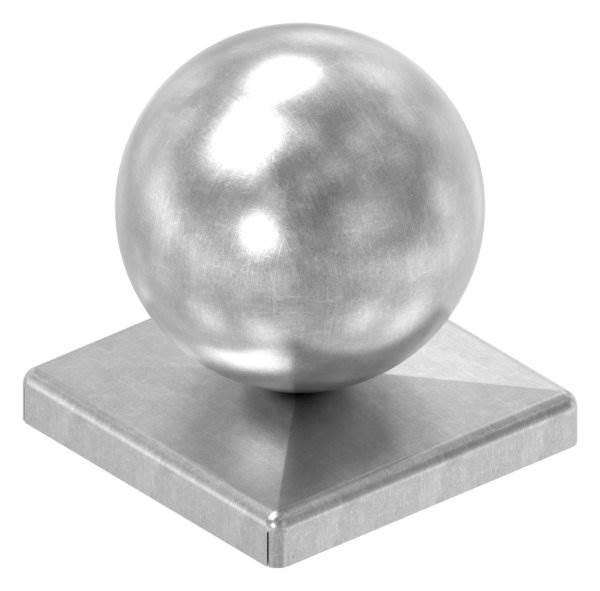 Pfeilerbedecker für Quadratrohr   60x60 mm   mit Kugel Ø 60 mm   Stahl (Roh) S235JR