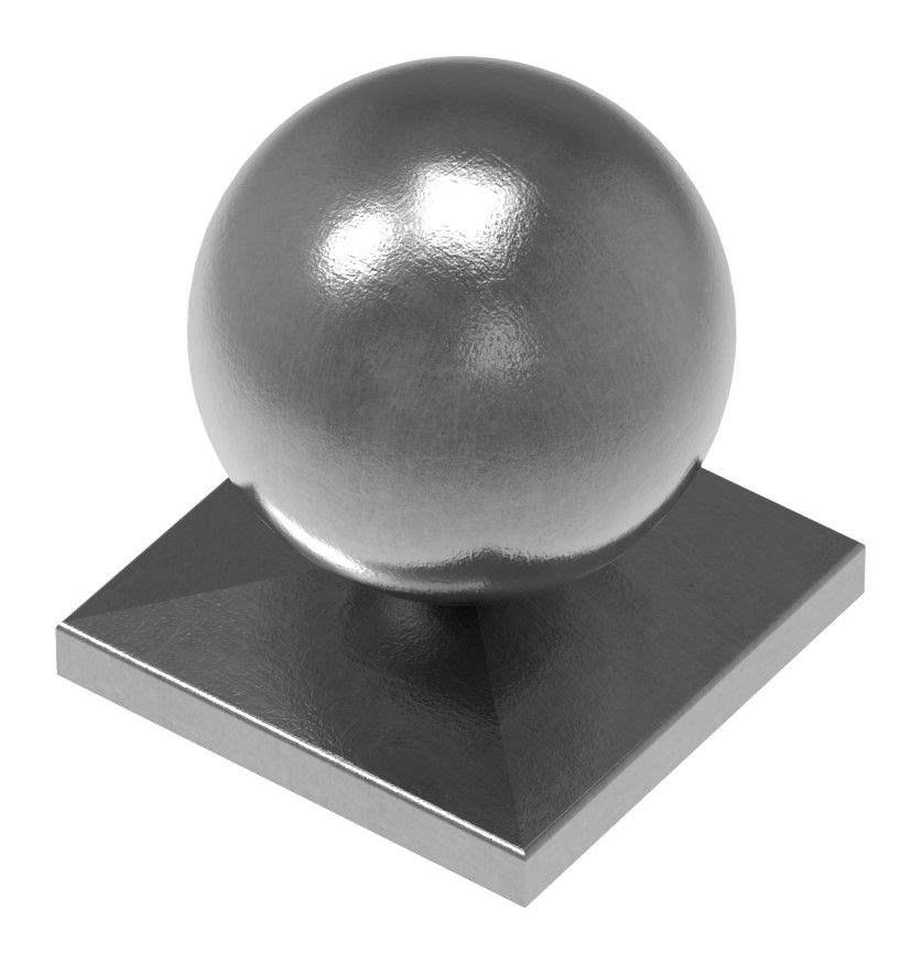 Pfeilerbedecker für Quadratrohr | 60x60 mm | mit Kugel Ø 60 mm | Stahl (Roh) S235JR