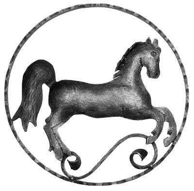 Pferd (rechts) Zierelement | Ø 300 mm | Stahl S235JR, roh