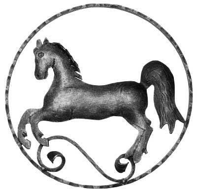 Pferd (links) Zierelement | Ø 300 mm | Stahl S235JR, roh