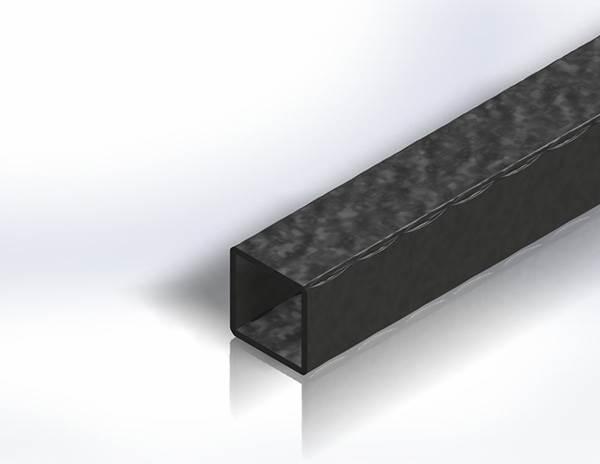 Quadratrohr | gehämmert | Maße: 40x40x2,5 mm | Länge: 3000 mm | Stahl S235JR, roh