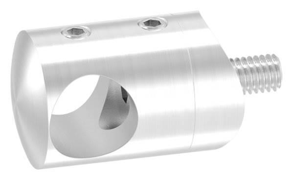 Querstabhalter Ø 22 mm | Anschluss: 33,7 mm | mit Bohrung: 14,2 mm | V2A