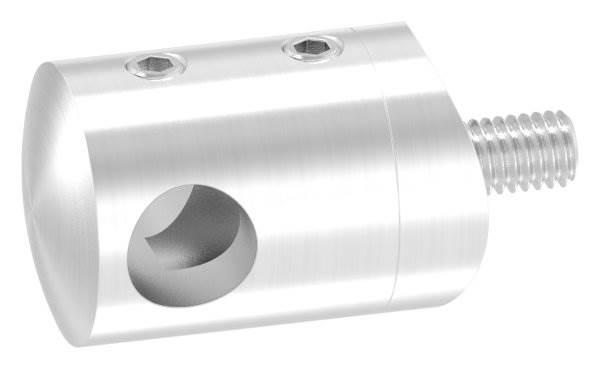 Querstabhalter Ø 22 mm | Anschluss: 42,4 mm | mit Bohrung: 10,2 mm - 14,2 mm | V2A