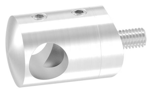 Querstabhalter Ø 22 mm | Anschluss: 42,4 mm | mit Bohrung: 12,2 mm | V4A