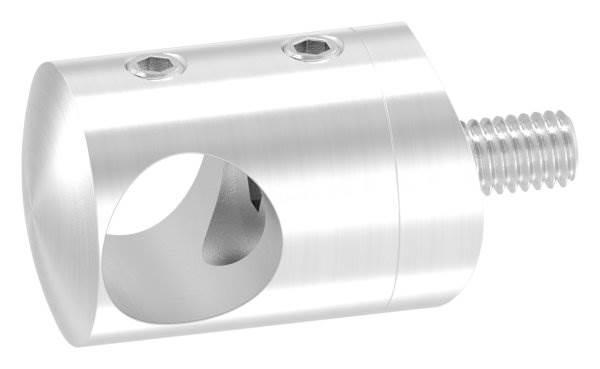 Querstabhalter Ø 22 mm | Anschluss: 48,3 mm | mit Bohrung: 14,2 mm | V2A