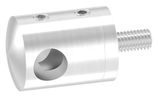 Querstabhalter Ø 22 mm | Anschluss: flach | mit Bohrung: 10,2 mm - 14,2 mm | V2A