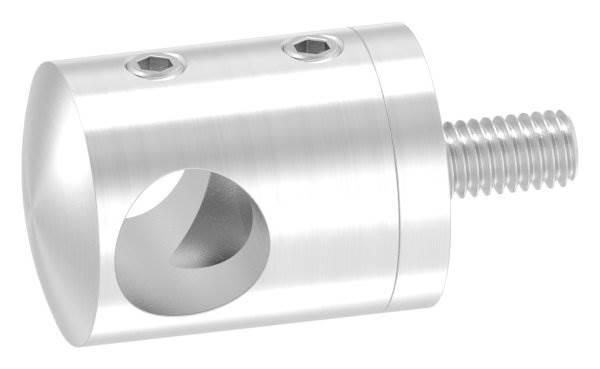 Querstabhalter Ø 22 mm | Anschluss: flach | mit Bohrung: 12,2 mm | V2A