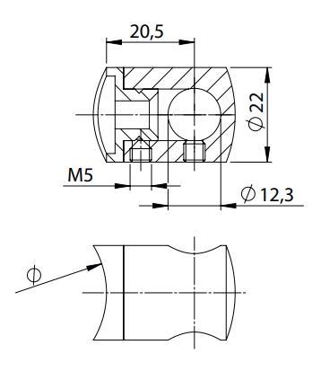 Querstabhalter Ø 22 mm V2A für Füllstäbe 12 mm Anschluss flach