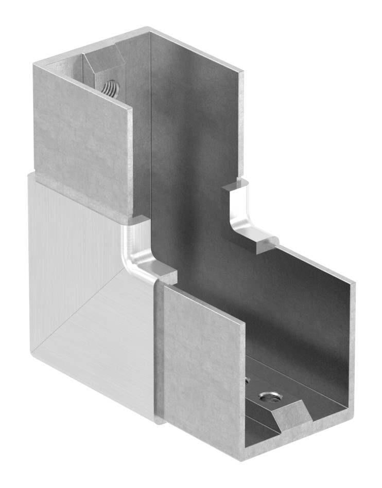Rahmenecke 90° | vertikal | für Quadrat-Nutrohr: 40x40 mm | V2A